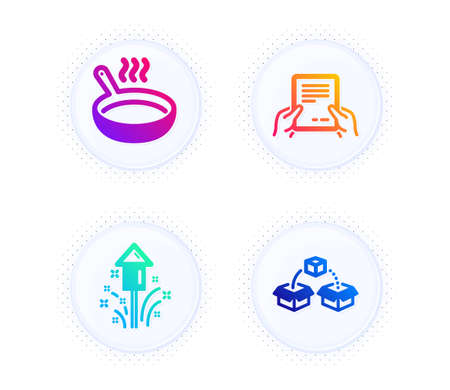 Frying pan, Receive file and Fireworks icons simple set. Button with halftone dots. Parcel shipping sign. Cooking utensil, Hold document, Christmas pyrotechnic. Send box. Business set. Vector 向量圖像