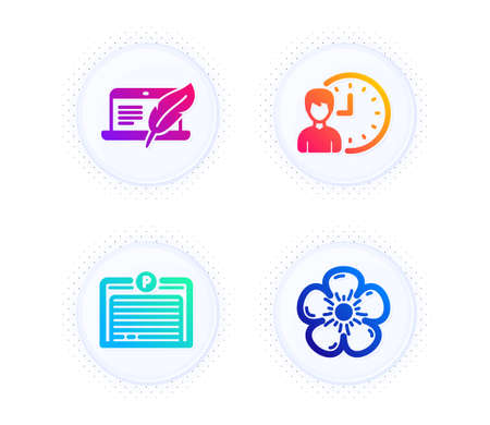 Copyright laptop, Working hours and Parking garage icons simple set. Button with halftone dots. Natural linen sign. Writer device, Project deadline, Automatic door. Organic tested. Vector