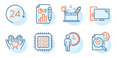 Hold heart, Cpu processor and Waiting signs. Report document, Seo stats and Computer line icons set. Creativity concept, 24 hours symbols. Growth chart, Cogwheel. Business set. Vector