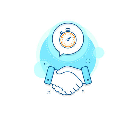 Stopwatch symbol. Handshake deal complex icon. Timer line icon. Time management sign. Agreement shaking hands banner. Timer sign. Vector