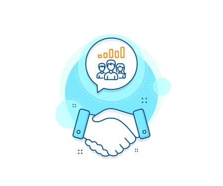 Group of people sign. Handshake deal complex icon. Teamwork results line icon. Agreement shaking hands banner. Teamwork results sign. Vector