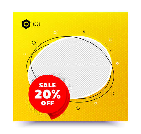 Sale 20% off badge. Yellow banner template. Discount banner shape. Coupon bubble icon. Social media banner with chat bubble. Online shopping web template. Sale 20% promotion bubble. Vector