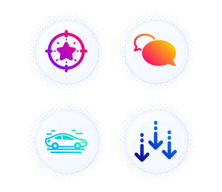 Car, Messenger and Star target icons simple set. Button with halftone dots. Scroll down sign. Transport, Speech bubble, Winner award. Swipe screen. Business set. Gradient flat car icon. Vector