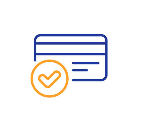 Approved credit card line icon. Accepted payment methods sign. Verification symbol. Colorful thin line outline concept. Linear style payment methods icon. Editable stroke. Vector