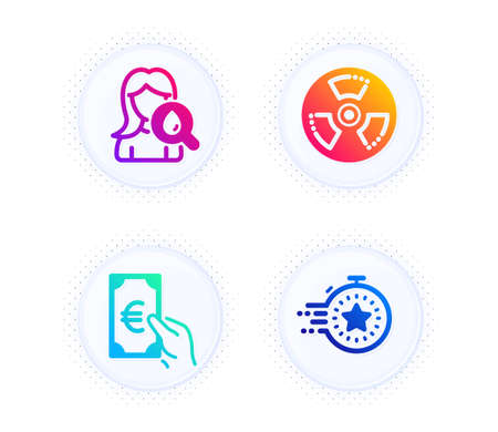Moisturizing cream, Finance and Chemical hazard icons simple set. Button with halftone dots. Timer sign. Face lotion, Eur cash, Toxic. Deadline management. Business set. Vector 일러스트