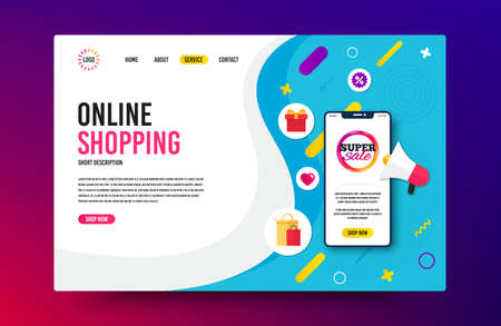 Landing page with phone mockup. Super sale badge. Discount banner shape. Coupon bubble icon. Website template banner with smartphone screen. Shopping mockup web page template. Vector Illusztráció