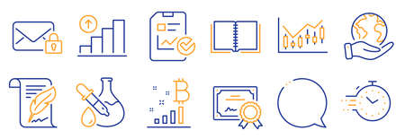 Set of Education icons, such as Timer, Feather. Certificate, save planet. Graph chart, Chemistry experiment, Book. Speech bubble, Bitcoin graph, Secure mail. Vector Vettoriali