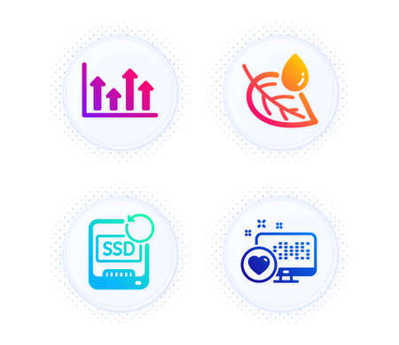 Leaf dew, Upper arrows and Recovery ssd icons simple set. Button with halftone dots. Heart sign. Water drop, Growth infochart, Backup info. Social media. Business set. Vector