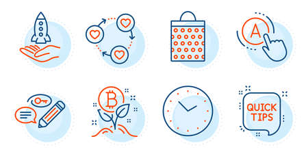 Ab testing, Crowdfunding and Bitcoin project signs. Shopping bag, Time and Friends community line icons set. Quick tips, Keywords symbols. Paper package, Clock. Business set. Outline icons set. Vector