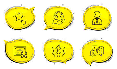 Safe energy sign. Diploma certificate, save planet chat bubbles. Ranking star, Copyrighter and Time management line icons set. Click rank, Writer person, Office chat. Thunderbolt. People set. Vector
