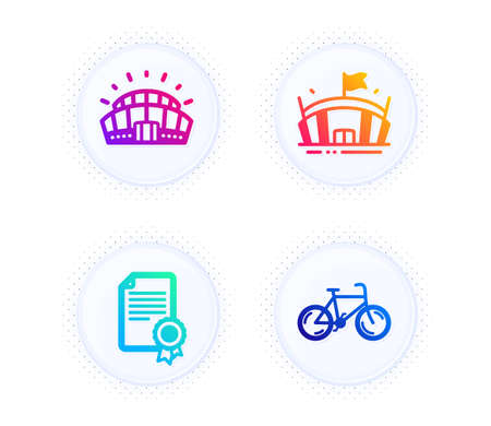 Sports stadium, Arena and Certificate icons simple set. Button with halftone dots. Bicycle sign. Championship arena, Sport stadium, Diploma. Bike. Sports set. Gradient flat sports stadium icon. Vector