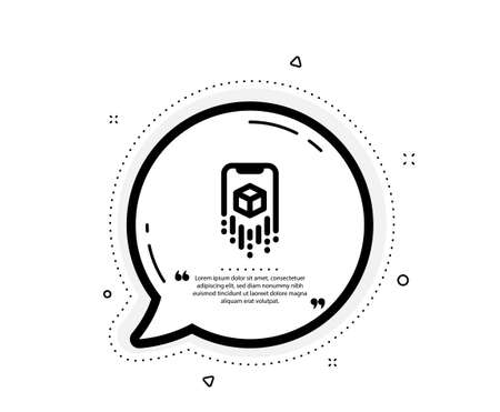 Augmented reality phone icon. Quote speech bubble. VR simulation sign. 3d cube symbol. Quotation marks. Classic augmented reality icon. Vector Vectores