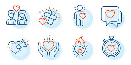 Friend, Love message and Heartbeat timer signs. Hold heart, Couple love and Heart line icons set. Love set. Outline icons set. Ð¡ircle with dashed line. Vector