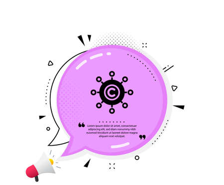 Copywriting network icon. Quote speech bubble. Copyright sign. Content networking symbol. Quotation marks. Classic copywriting network icon. Vector