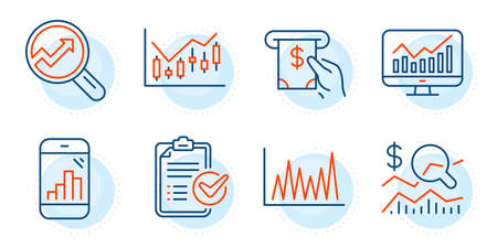 Statistics, Atm service and Graph phone signs. Line graph, Financial diagram and Survey checklist line icons set. Analytics, Check investment symbols. Market diagram, Candlestick chart. Vector
