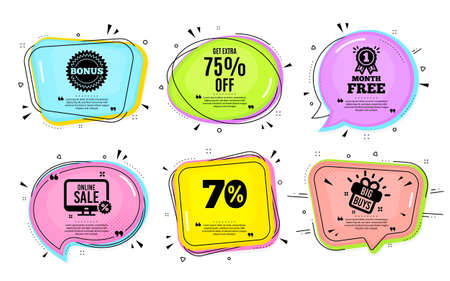 Get Extra 75% off Sale. Big buys, online shopping. Discount offer price sign. Special offer symbol. Save 75 percentages. Quotation bubble. Banner badge, texting quote boxes. Vector