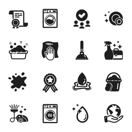 Set of Cleaning icons, such as Water splash, Sponge. Certificate, approved group, save planet. Dirty spot, Washing machine, Cleanser spray. Plunger, Dryer machine, Water drop. Vector