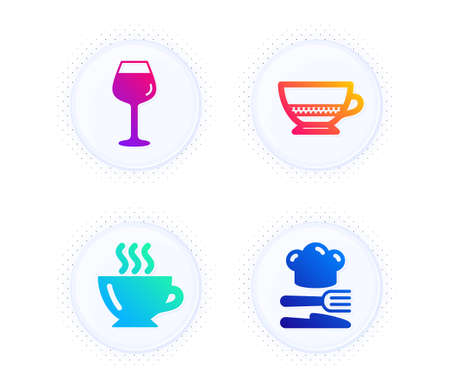 Bordeaux glass, Coffee and Bombon coffee icons simple set. Button with halftone dots. Food sign. Wine glass, Cappuccino, Cafe bombon. Chef hat. Food and drink set. Vector