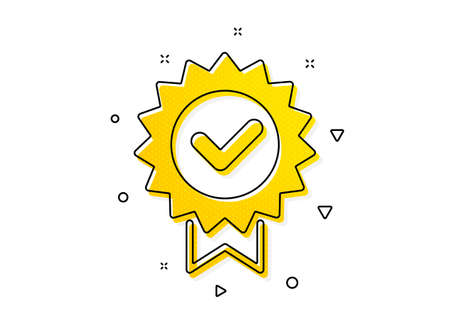 Verified award sign. Certificate icon. Accepted or confirmed symbol. Yellow circles pattern. Classic certificate icon. Geometric elements. Vector Illusztráció