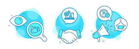 Online chemistry, Blood donation and Parking time line icons set. Handshake deal, research and promotion complex icons. Clean towel sign. Lab flask, Medicine analyze, Park clock. Vector