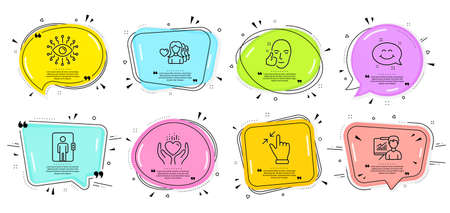 Hold heart, Presentation and Smile chat signs. Speech bubbles with quotes. Elevator, Healthy face and Artificial intelligence line icons set. Woman love, Touchscreen gesture symbols. Vector