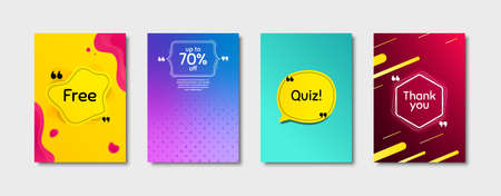 Quiz, 70% discount and free. Dynamic cover design. Creative fluid background. Thank you phrase. Sale shopping text. Poster cover template with chat bubble. Quote marks speech bubble. Vector Illusztráció