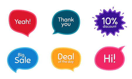 Big sale, 10% discount and Deal of the day. Colorful chat bubbles. Thank you phrase. Sale shopping text. Chat messages with phrases. Texting thought bubbles. Vector Illusztráció