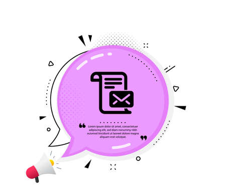 Mail letter icon. Quote speech bubble. Read Message correspondence sign. E-mail symbol. Quotation marks. Classic mail letter icon. Vector