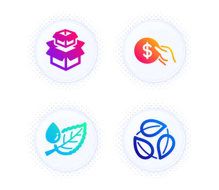 Packing boxes, Leaf dew and Payment icons simple set. Button with halftone dots. Leaves sign. Delivery box, Water drop, Usd coin. Nature leaf. Business set. Gradient flat packing boxes icon. Vector