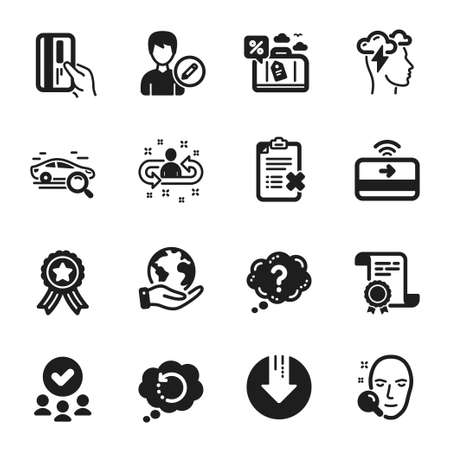 Set of Technology icons, such as Face search, Question mark. Certificate, approved group, save planet. Recovery data, Download arrow, Payment card. Search car, Edit person, Contactless payment. Vector Illusztráció