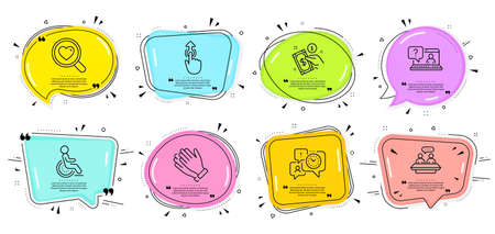 Faq, Search love and Disability signs. Speech bubbles with quotes. Clapping hands, Employees talk and Swipe up line icons set. Payment method, Time management symbols. Clap, Collaboration. Vector