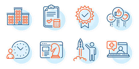 Time management, Like and Accounting checklist signs. Company, Launch project and Seo strategy line icons set. Certificate, Medical help symbols. Building, Business innovation. Vector