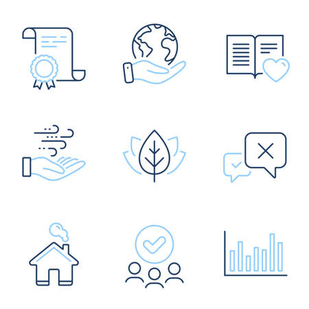 Home, Organic tested and Love book line icons set. Diploma certificate, save planet, group of people. Bar diagram, Reject and Wind energy signs. Vector