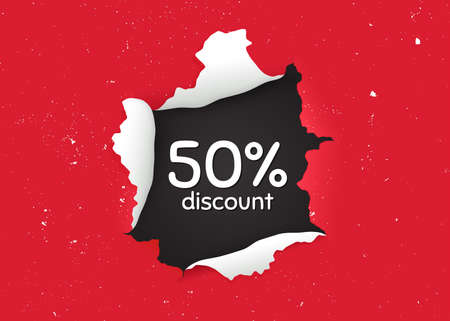 50% Discount. Ragged hole, torn paper banner. Sale offer price sign. Special offer symbol. Paper with ripped edges. Torn hole red background. Discount promotion banner. Peeling grunge paint. Vector