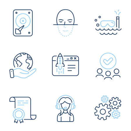 Start business, Cogwheel and Support line icons set. Diploma certificate, save planet, group of people. Scuba diving, Hdd and Face recognition signs. Launch idea, Engineering tool, Call center. Vector 向量圖像
