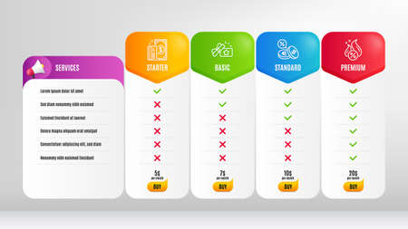 Payment, Hot loan and Loyalty gift line icons set. Pricing table, price list. Currency exchange sign. Cash money, Discount offer, Bonus award. Euro and usd. Finance set. Vector Illusztráció