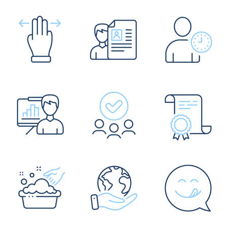 Time management, Presentation board and Multitasking gesture line icons set. Diploma certificate, save planet, group of people. Hand washing, Yummy smile and Job interview signs. Vector