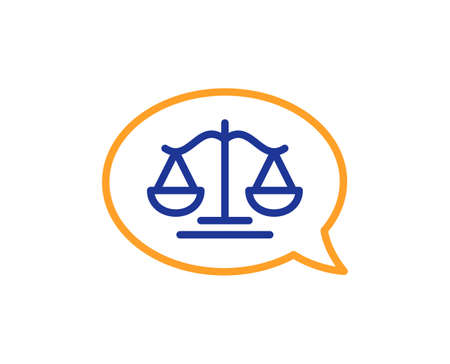 Justice scales line icon. Judgement speech bubble sign. Legal law symbol. Colorful thin line outline concept. Linear style justice scales icon. Editable stroke. Vector
