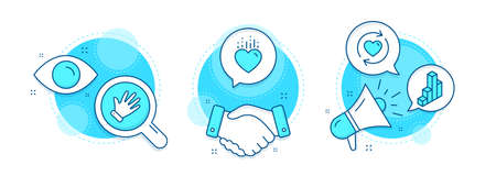 Heart, 3d chart and Update relationships line icons set. Handshake deal, research and promotion complex icons. Hand sign. Love, Presentation column, Refresh love. Waving palm. Vector