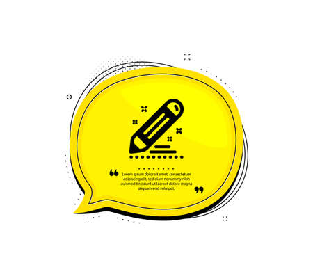 Brand contract icon. Quote speech bubble. Pencil sign. Edit social marketing report symbol. Quotation marks. Classic brand contract icon. Vector Stock Illustratie