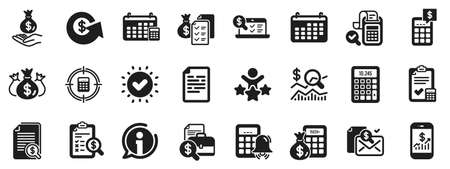 Set of Calculation, Check investment. Accounting report icons. Calendar, Banking account and Finance report documents icons. Bill, Calculate income and Wealth auditing signs. Vector