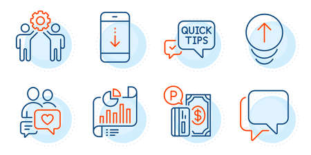 Parking payment, Scroll down and Report document signs. Talk bubble, Swipe up and Dating chat line icons set. Employees teamwork, Quick tips symbols. Chat message, Scrolling page. Vector Illusztráció