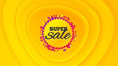 Super sale badge. Geometric plastic design banner. Discount banner shape. Coupon bubble icon. Orange shape background. Promotional plastic flyer design. Super sale promotion banner. Vector