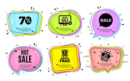Hot Sale. Big buys, online shopping. Special offer price sign. Advertising Discounts symbol. Quotation bubble. Banner badge, texting quote boxes. Hot sale text. Coupon offer. Vector