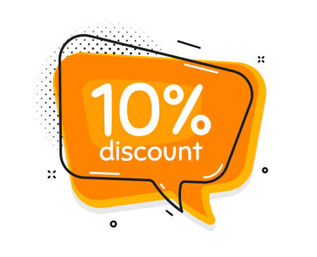10% Discount. Thought chat bubble. Sale offer price sign. Special offer symbol. Speech bubble with lines. Discount promotion text. Vector