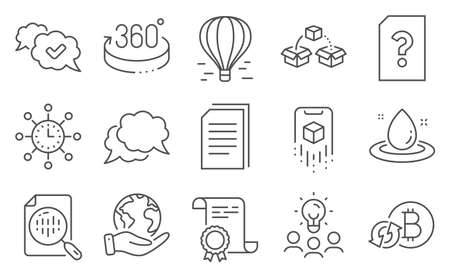 Set of Technology icons, such as Fuel energy, Copy files. Diploma, ideas, save planet. 360 degrees, Approved, Refresh bitcoin. Air balloon, Chat message, World time. Vector Illusztráció