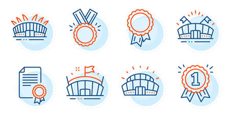 Certificate, Sports stadium and Reward signs. Sports arena, Arena and Success line icons set. Honor symbol. Event stadium, Sport complex. Sports set. Outline icons set. Vector Illusztráció