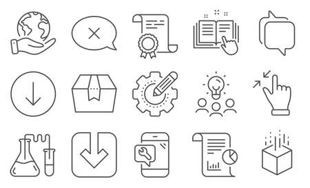 Set of Technology icons, such as Package box, Chemistry lab. Diploma, ideas, save planet. Reject, Technical documentation, Load document. Messenger, Touchscreen gesture, Augmented reality. Vector 向量圖像