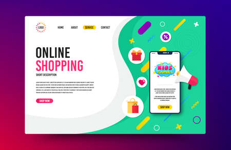 Landing page with phone mockup. Kids games icon. Fun playing zone banner. Children games party area icon. Website template banner with smartphone screen. Shopping mockup web page template. Vector
