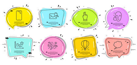 Click hand, Air balloon and Healthy face signs. Speech bubbles with quotes. Smartphone, Search mail and Airplane travel line icons set. Comic message, Ranking stars symbols. Phone, Find letter. Vector